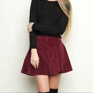 Corduroy Button Down Flared Mini Skirt